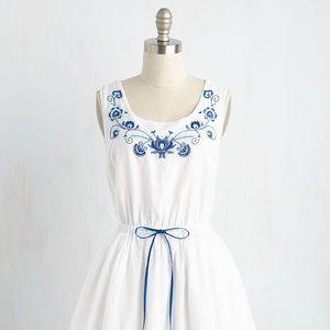 ModCloth Embroidered Drawstring Dress